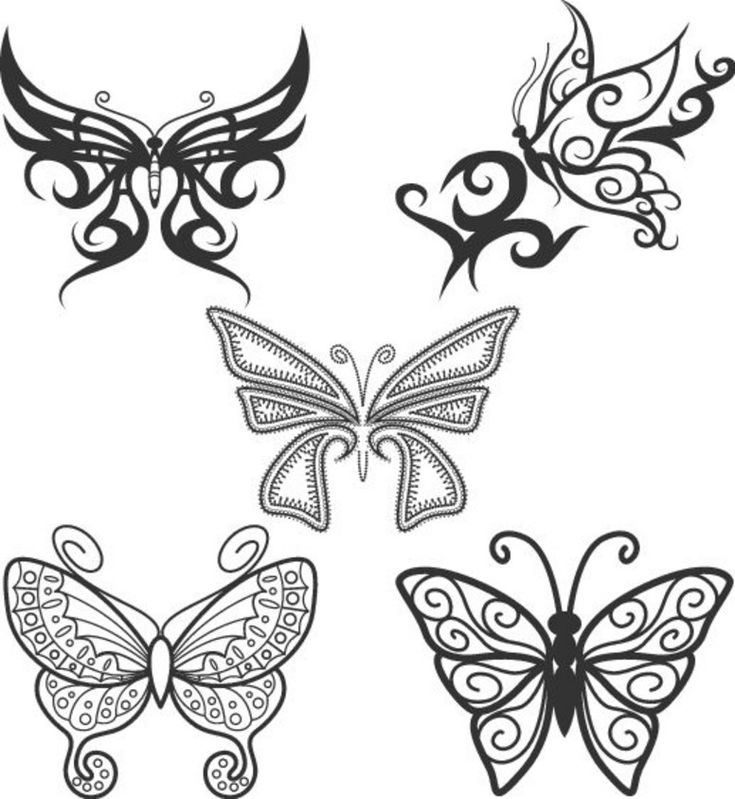 Simple Butterfly Outline Tattoos
