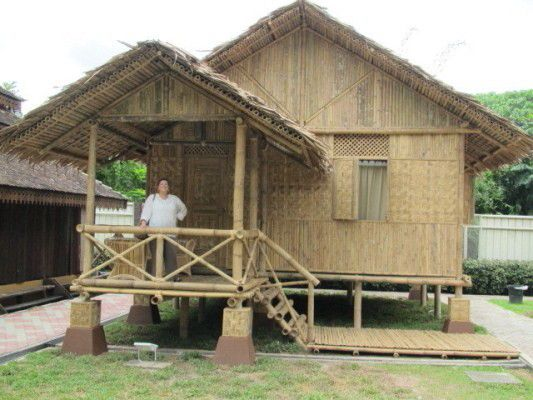 Bamboo house projects pinterest for Small house design made of bamboo