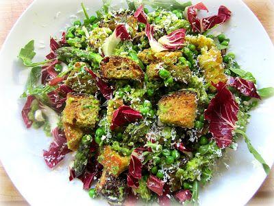 Spring Panzanella Salad featuring asparagus pesto, panzanella croutons ...