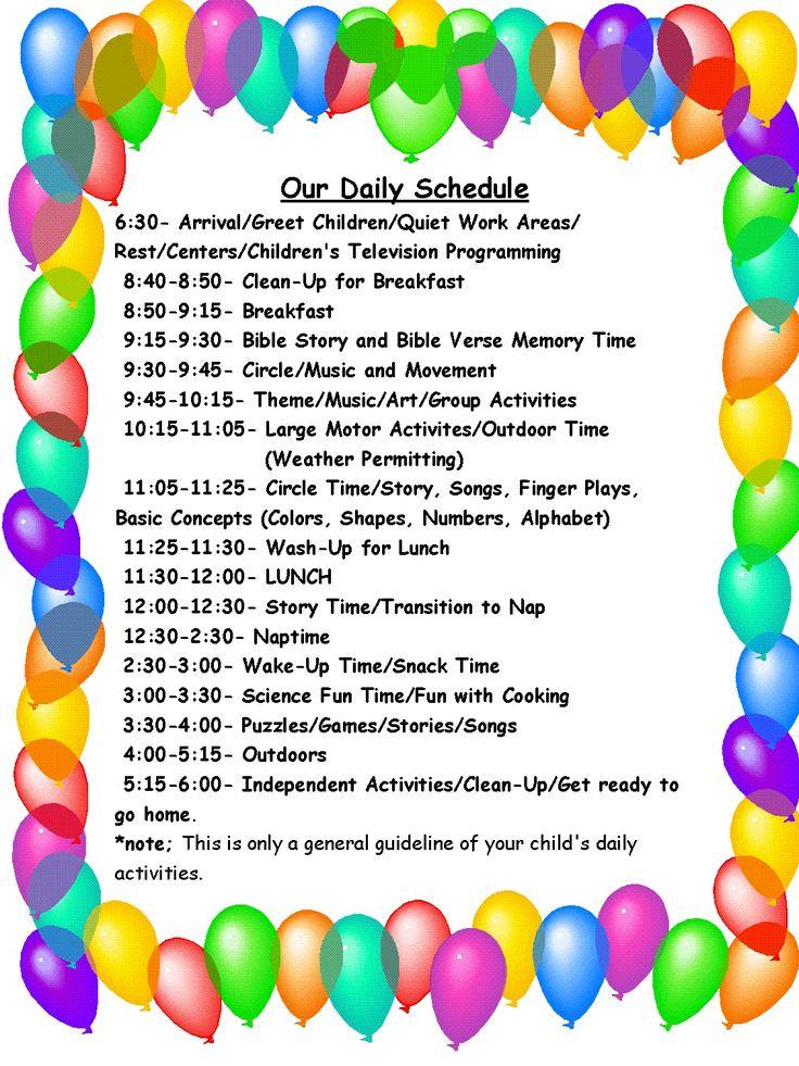 daily schedule child care c ile web e hükmedin