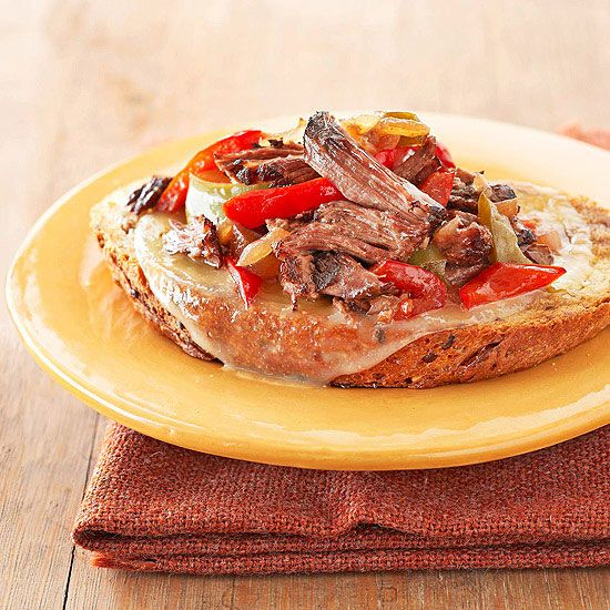 Open-Face Shredded Beef Sandwiches