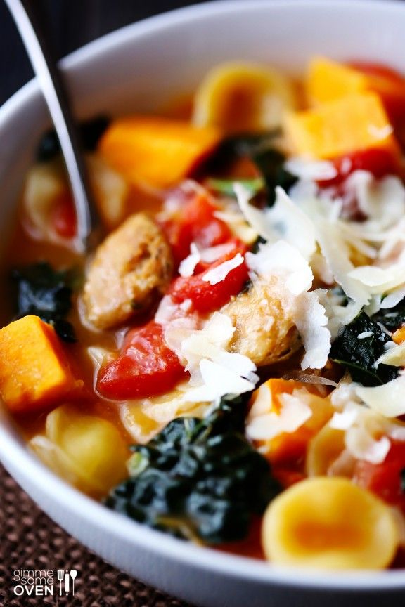 Sweet Potato, Sausage & Kale Soup via @Ali Ebright (Gimme Some Oven)