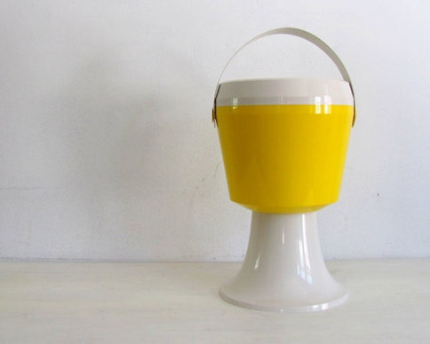Vintage 70s Ice Bucket Pedestal Cool Yellow Retro by NifticVintage