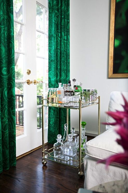 SallyL: Sally Wheat Interiors - Living room with incredible emerald green curtains covering ...