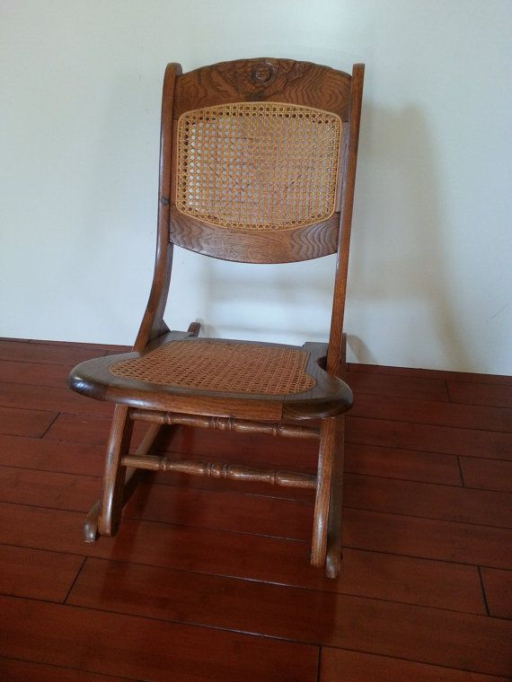 ROCKING CHAIR Antique Carved Solid Oak Folding Rocker Caned Back And…