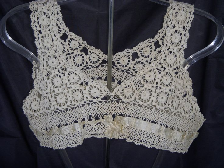 Crochet Underwear : Antique Lingerie Hand Made Crochet Bra by yourwildestdreams