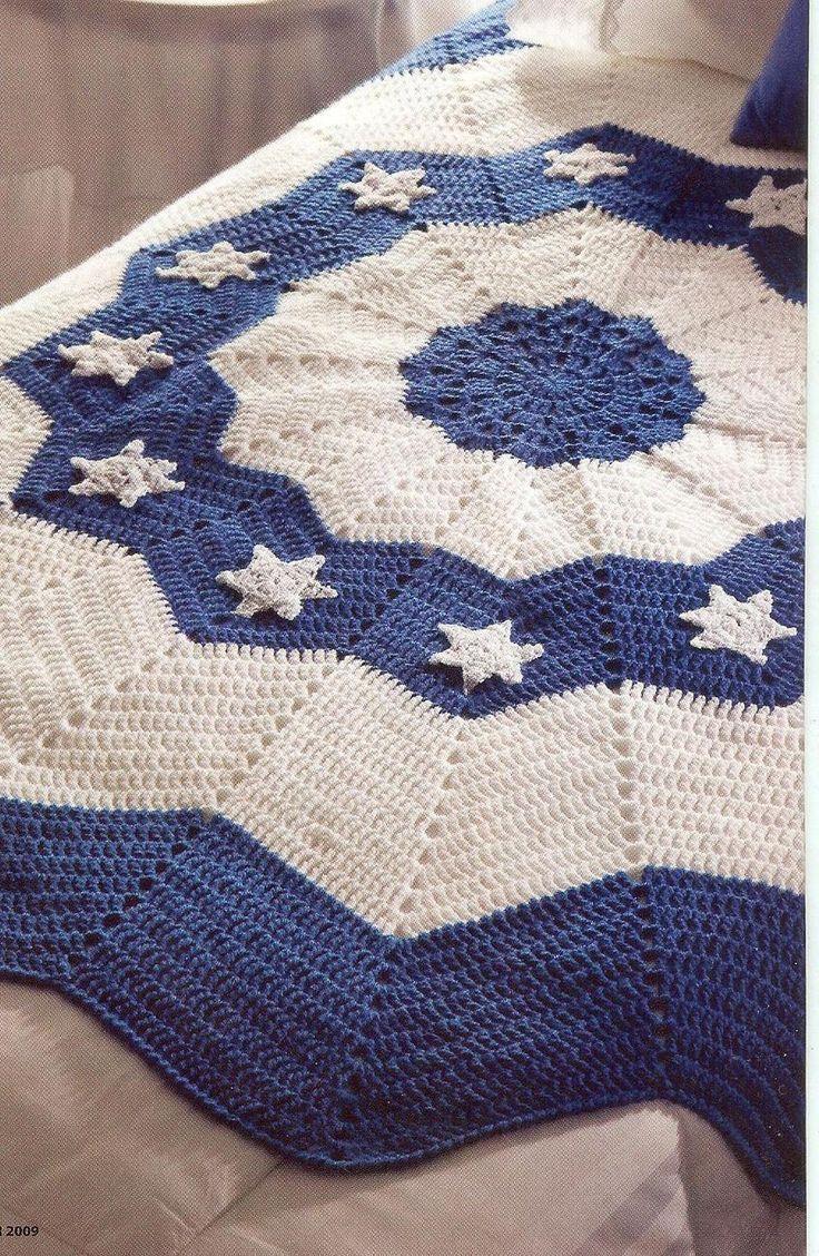 Hanukkah round ripple afghan crochet pattern