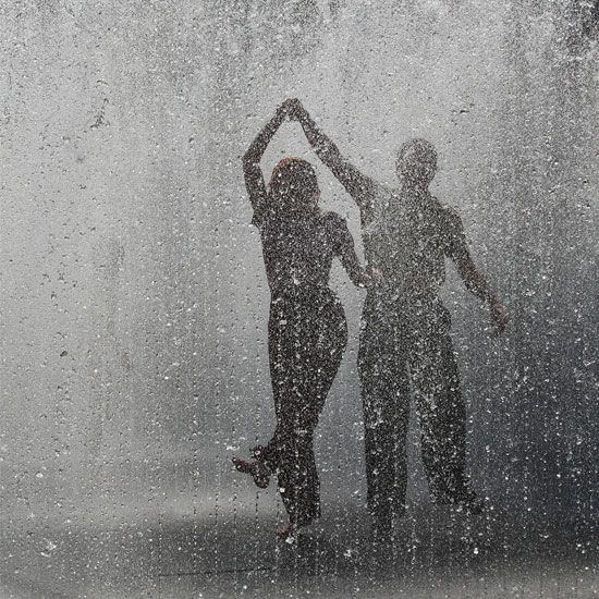 Dancing in the rain.