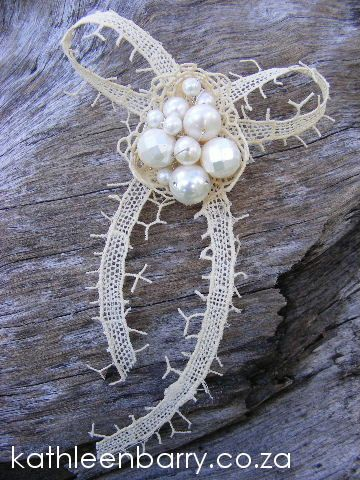 Bow Corsage - Pearl - Vintage Lace Collection