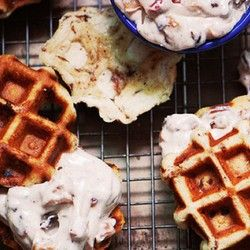 ... be in love with this:: Cinnamon Roll Waffles with Bacon-Apple Frosting