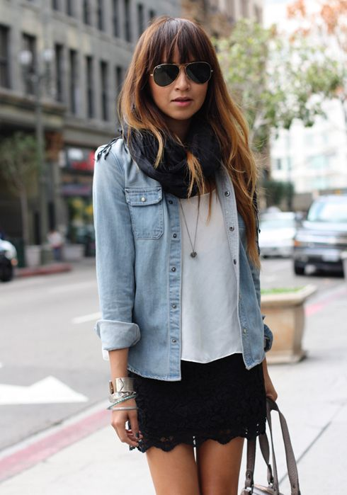 chambray and black shorts