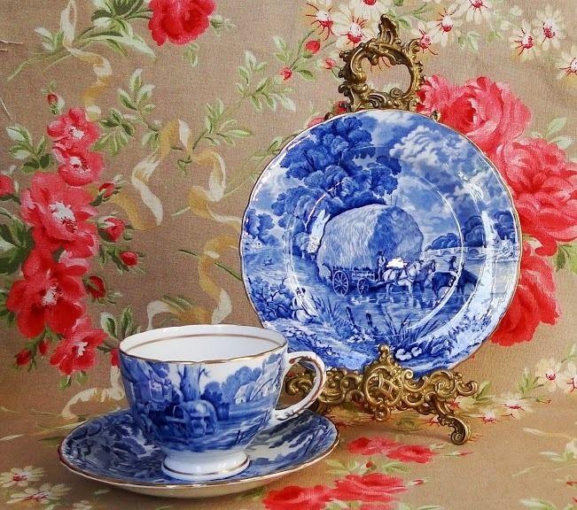 Trio Te Porcelana Hudson & Middleton England Paisaje Azul