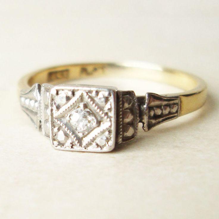 Art Nouveau Solitaire Diamond Ring Princess Wedding