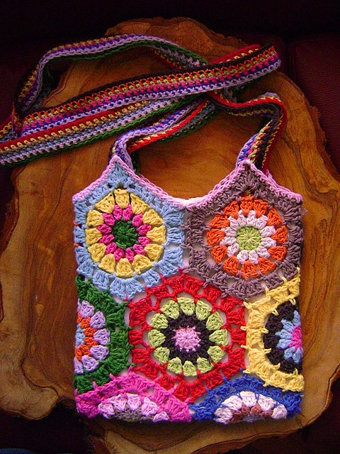Crochet hexagon granny bag Bolsas y de todo un poco Pinterest