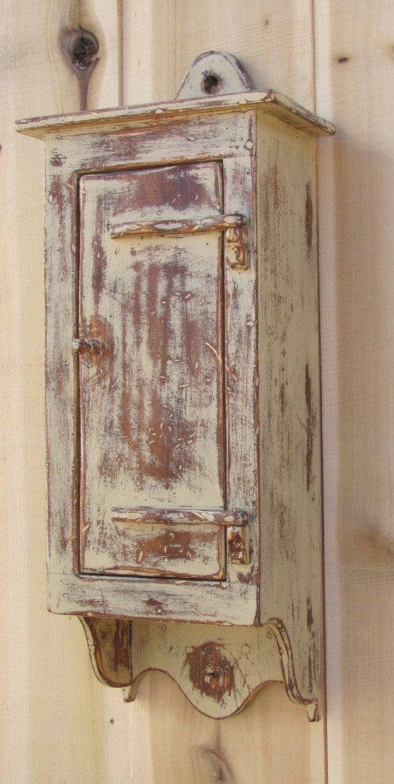 Country Primitive Furniture Wall Box With By
