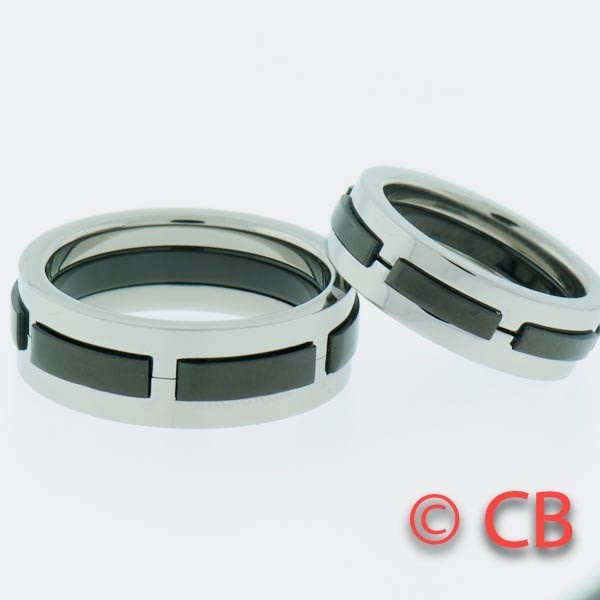 Matching Titanium Wedding Rings Bands His  Hers Promise Rings With ...