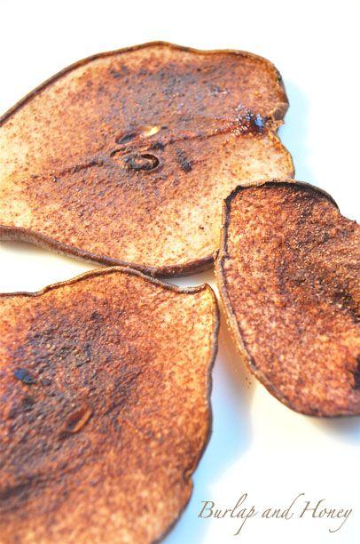Cocoa spice pear crisps, via Burlap and Honey