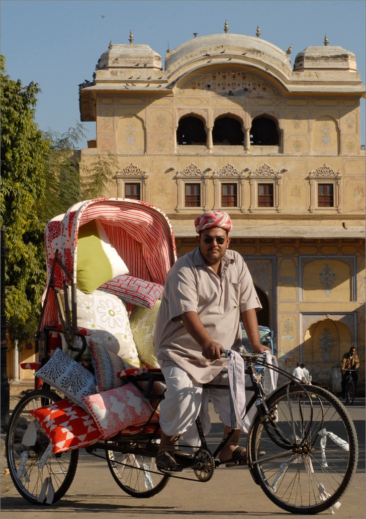 John Robshaw Textiles Rickshaw in the streets of India.