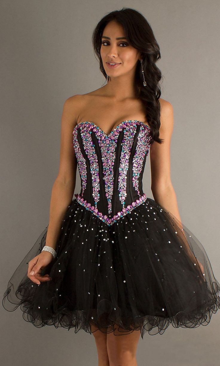 Sparkle Crystal Strapless Sweetheart Bodice White Black Short Ball Gown Prom Dress Girl Graduation Dresses Party Gowns 2014 corset $99.64