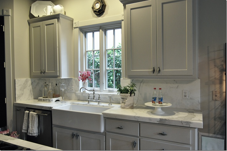 Grey cabinets, white granite with white farm house sink!!!