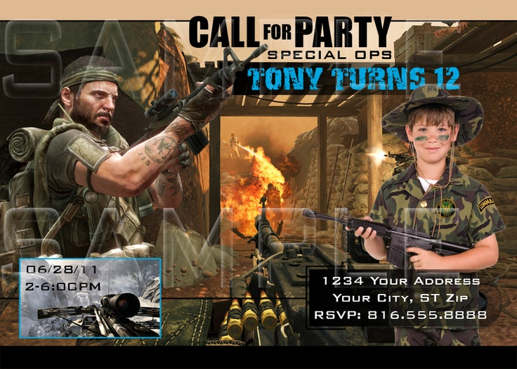 Call of Duty Birthday Invitations