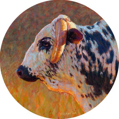 Daily paintworks bull profile 1 by rita kirkman