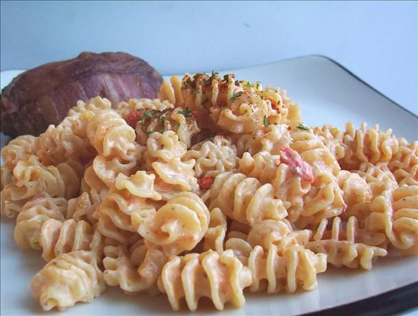 pasta with creamy roasted red pepper sauce - uses spreadable herb ...