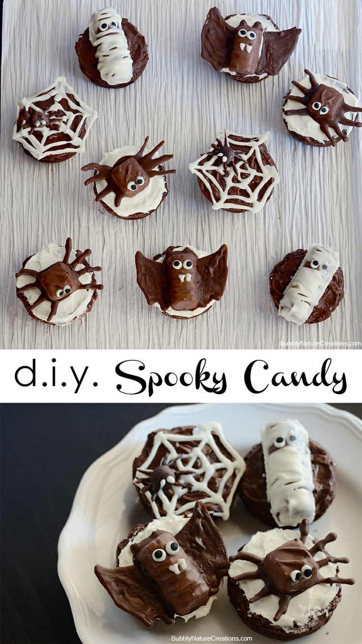 Spiders, Bats and Mummies made  from candy bars #shop