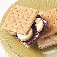 Nutella, graham crackers and bananas. Plus pbj wheat waffles, peanut butter cornflake balls, fruit kabobs, and more...