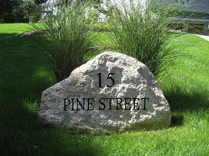 Landscape Rock With Engraving : Engraved address stone outdoors