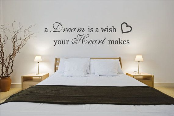 Wall decal bedroom quote sticker a dream is a wish your for Awesome big wall decals for bedroom