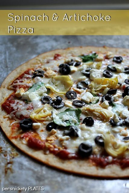 ... : Spinach & Artichoke Pizza with @Mama Mary's Gourmet Pizza Crust