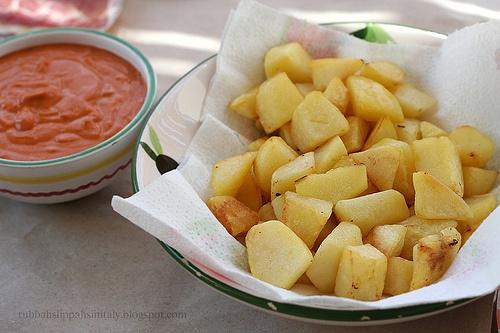 Patatas Bravas with Spicy Tomato Aioli | Foodie girl Spanish | Pinter ...