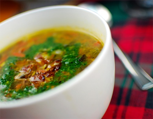 Irish Cock-a-Leekie Soup -- Add a shake of Ac'cent to make this the ...