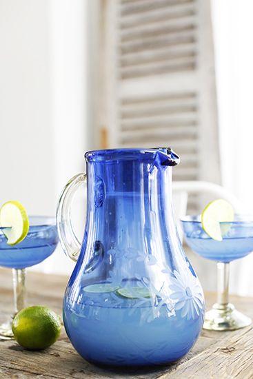 Behind the Scenes: Lauren Conrad's Etched Glassware // margaritas, @lilmarket blue pitcher and margarita glasses