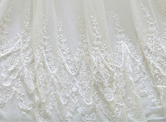 White bridal lace fabric by the yard wedding dress by bloominglace