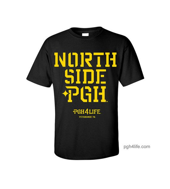 North Side Pittsburgh Pgh Black T Shirt Yellow Print Mens