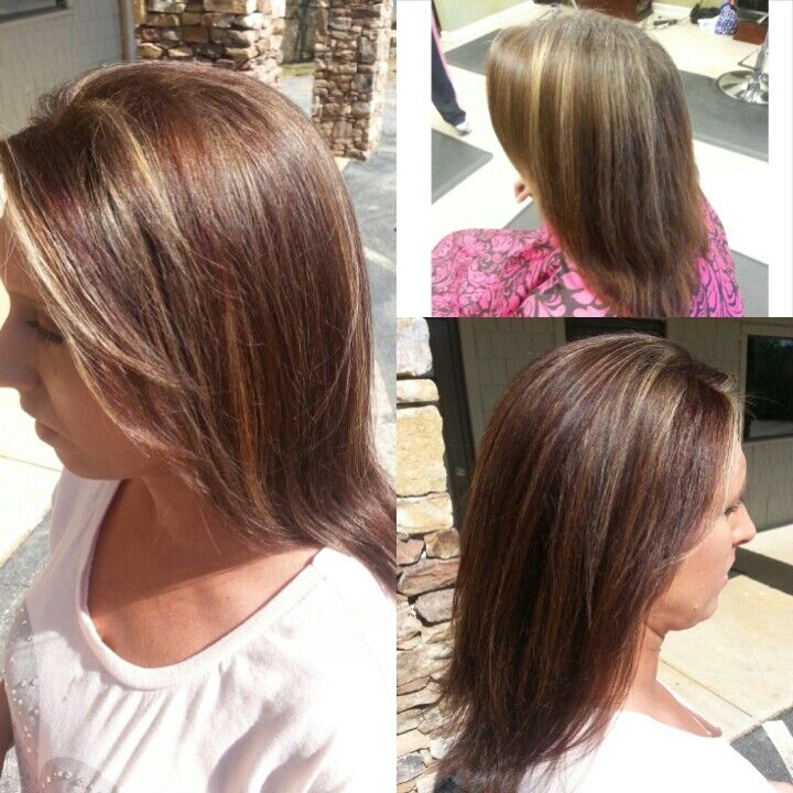mahogany lowlights #highlights and 6n base #Pravana before and after
