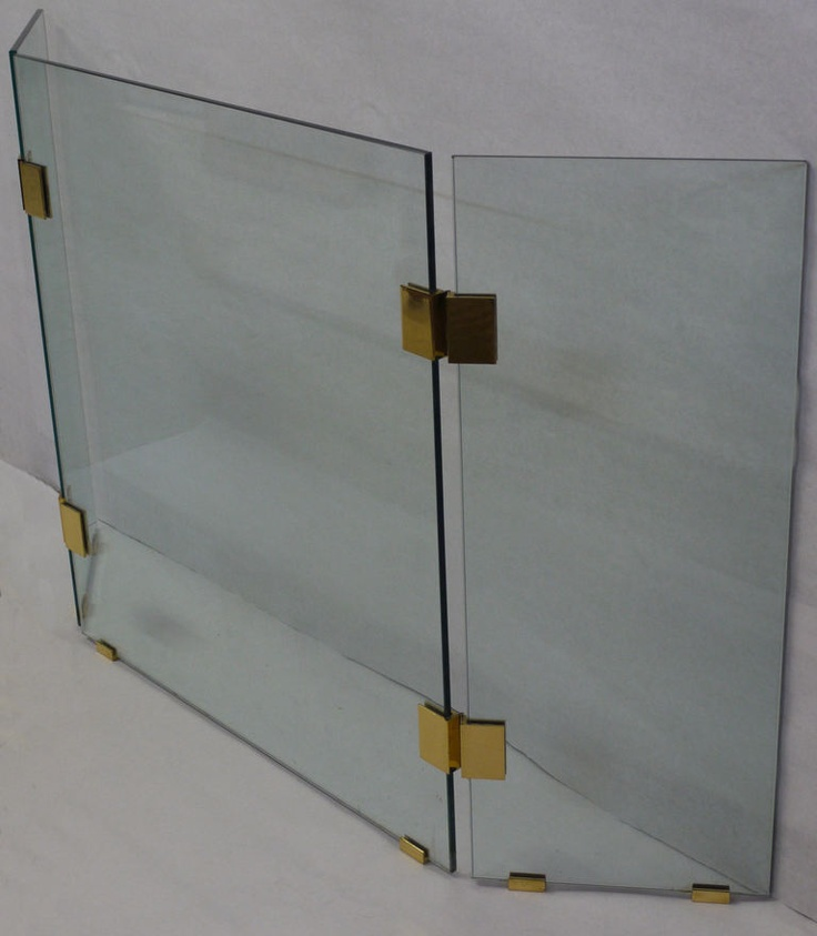 1970s Glass and Brass Fireplace Screen image 5