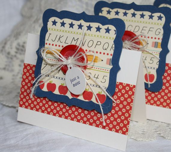 Handmade card set for teacher's gift.  October Afternoon - Schoolhouse papers.