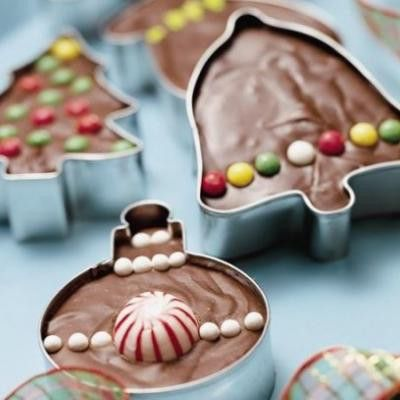 bake brownie mix in cookie cutters & decorate to give as gifts!