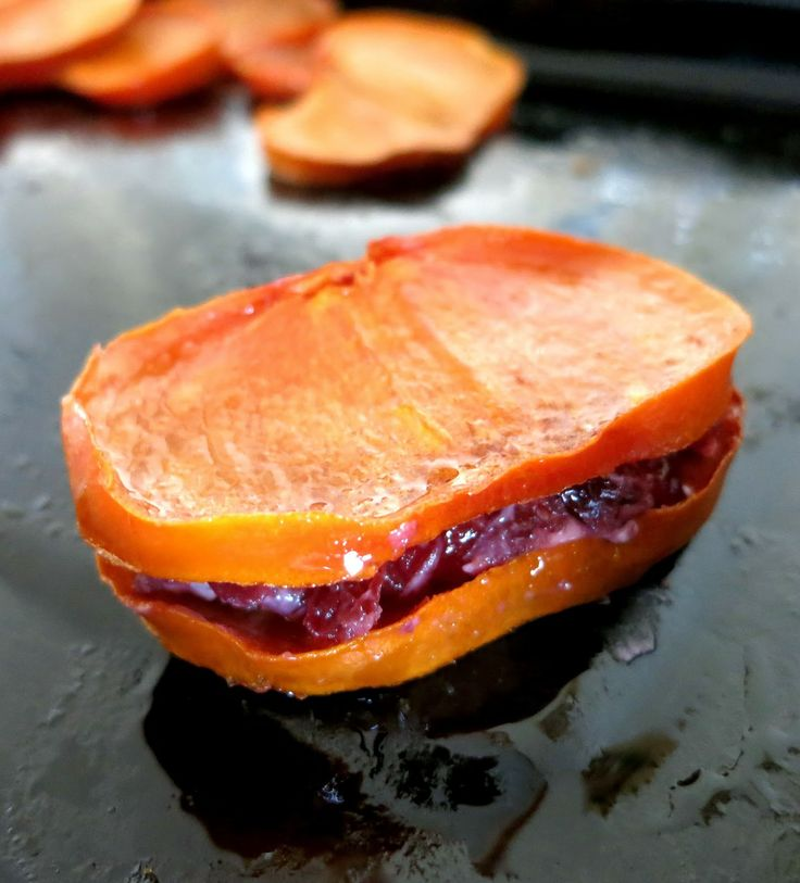 """Honey Roasted Persimmon and Goat Cheese """"Sandwiches"""""""