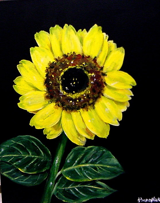 Yellow sunflower original acrylic painting on 16 x20 for How to paint sunflowers in acrylic