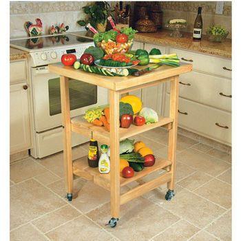 Kitchen carts kitchen folding carts kk 3005a4 natural and walnut
