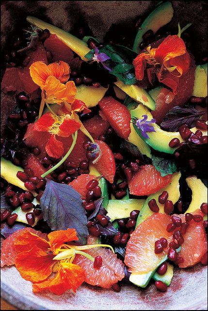 Pink Grapefruit, Avocado and Pomegranate Salad with Nasturtium Flowers ...