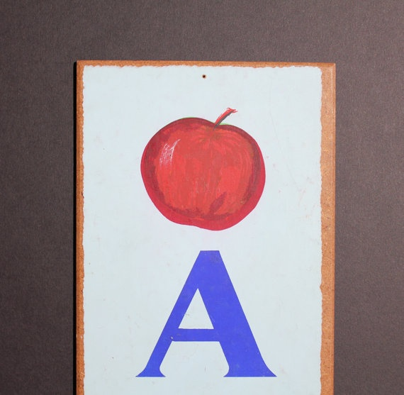 Vintage Letter A  Flashcard Wall Plaque in Blue by iSpyVintage, $35.00