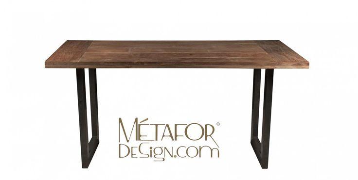 tables acier tables en metal teck style. Black Bedroom Furniture Sets. Home Design Ideas