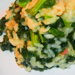 Risotto Verde-kale, spinach, arugula and peas. It is rice but it as ...