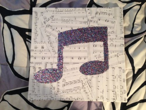 diy musical note glitter canvas michael jackson party