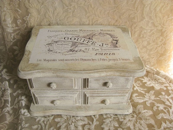 Vintage Jewelry Box Cream Brown Distressed Shabby French Label Painted Wood.